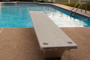 Closeup of a swimming pool diving board