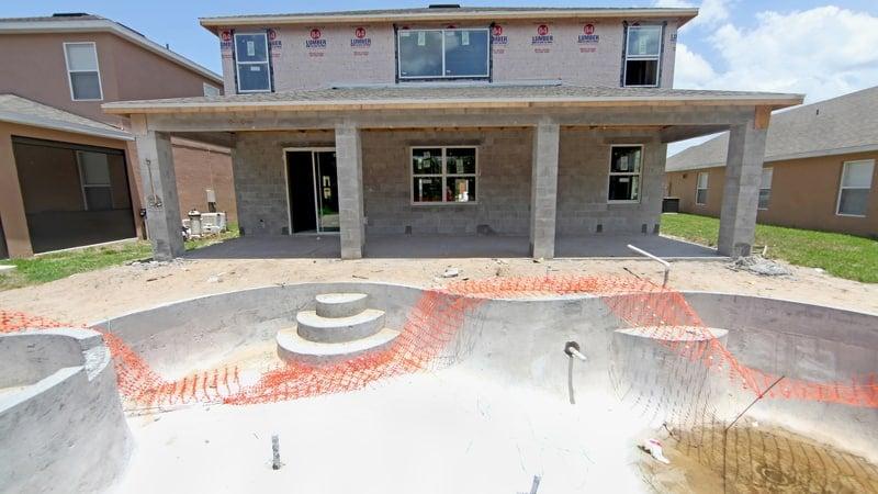 Pool construction in progress