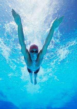 Underwater view of a professional swimmer.