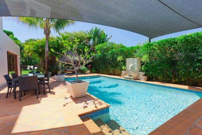 Small luxury pool with hedges and tropical plants providing privacy