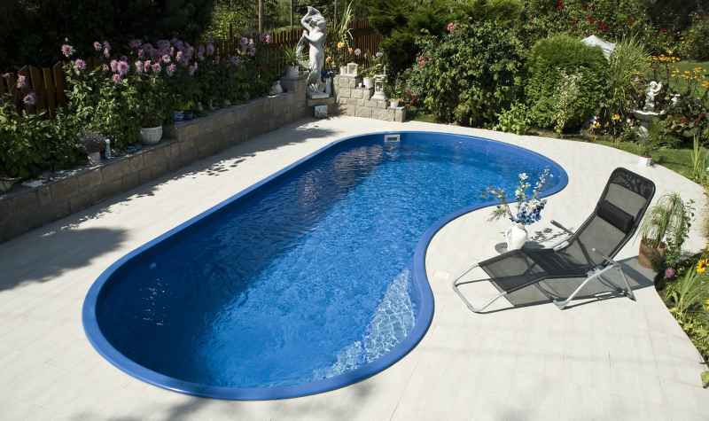 Photo of a simple, small inground pool